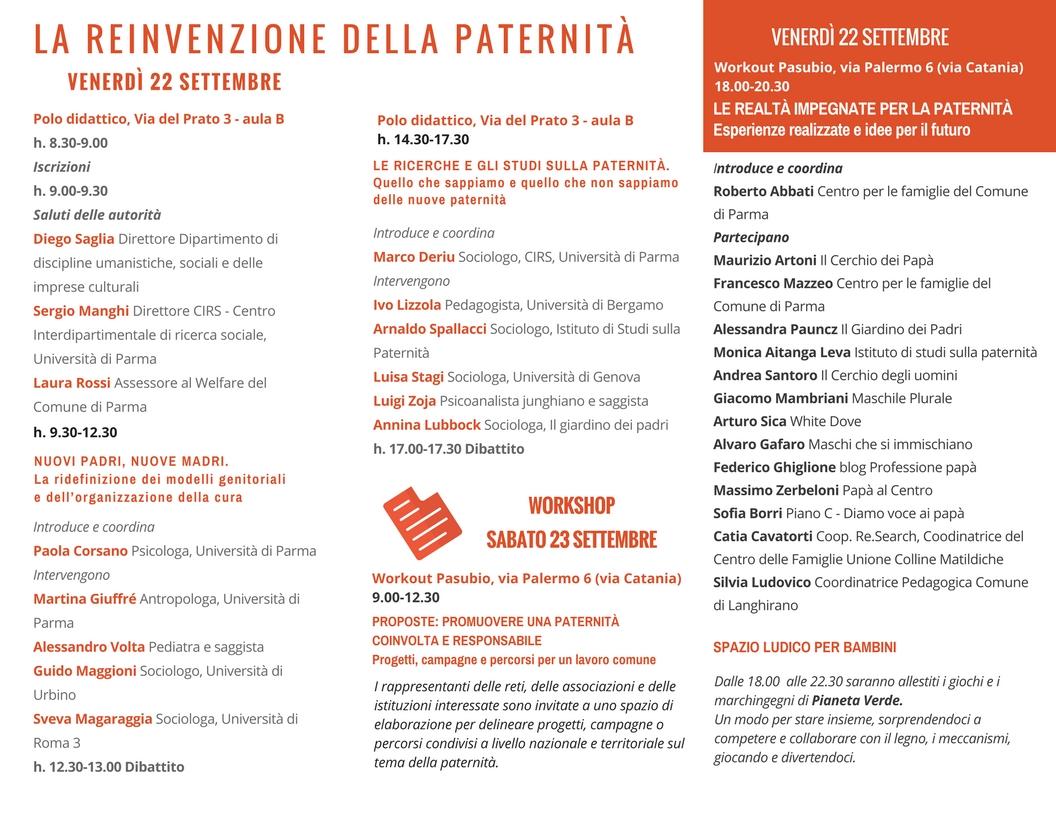 Parma 22 23 09 2017 La Reinvenzione Della Paternita Seminario